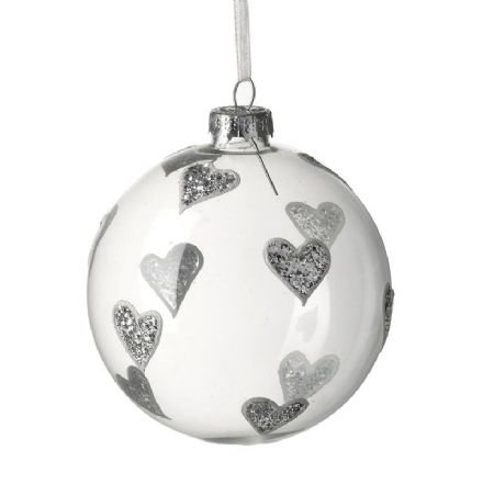 Clear Glass Bauble With Silver Design